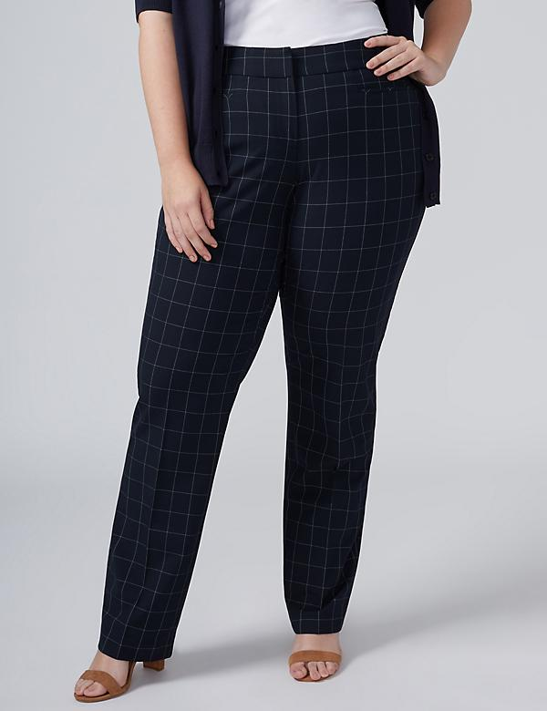 Ashley Tailored Stretch Straight Leg Pant - Windowpane