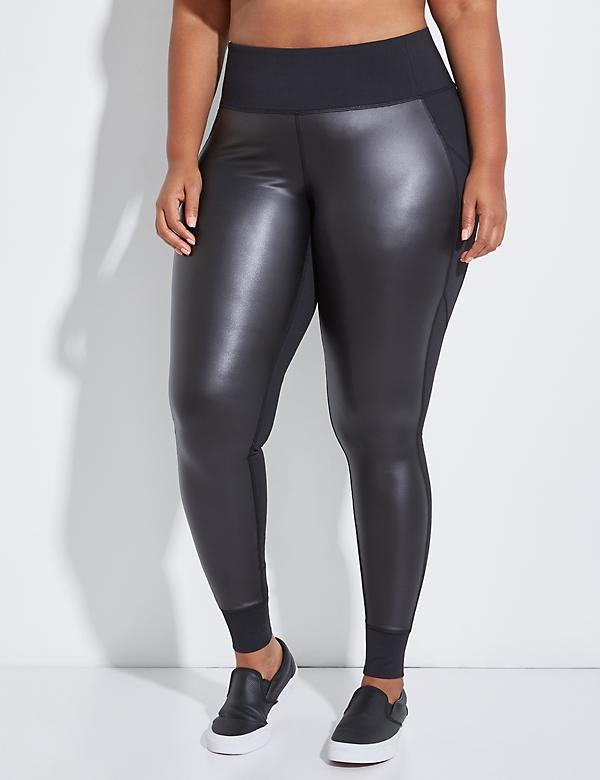 Wicking Active Legging with Faux Leather Panels