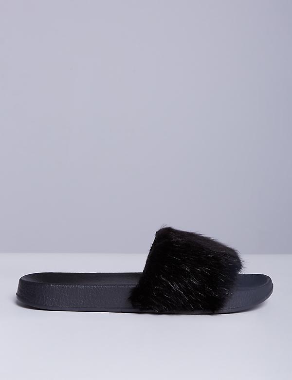 Slide Sandal with Faux Fur