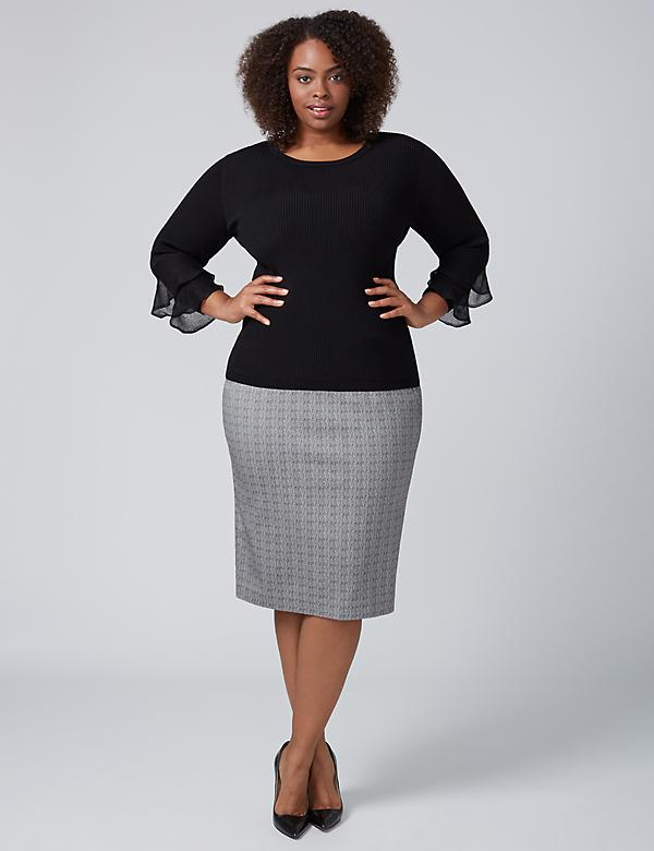 Allie Crosshatch Pencil Skirt