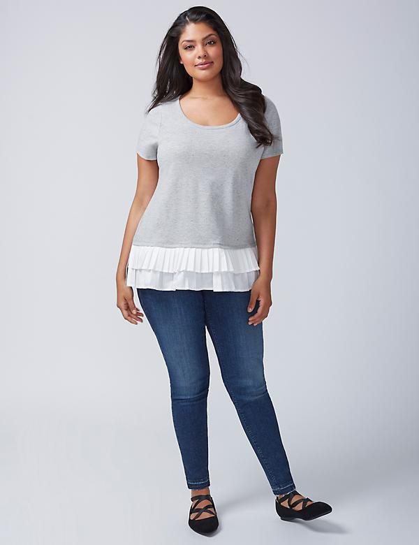 Crew-Neck Tee With Pleated Ruffle Hem