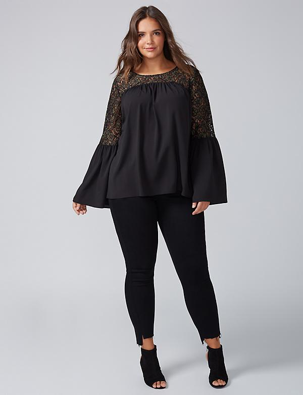 Bell-Sleeve Top with Lace
