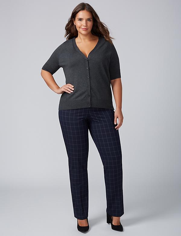 Lena Tailored Stretch Straight Leg Pant - Windowpane