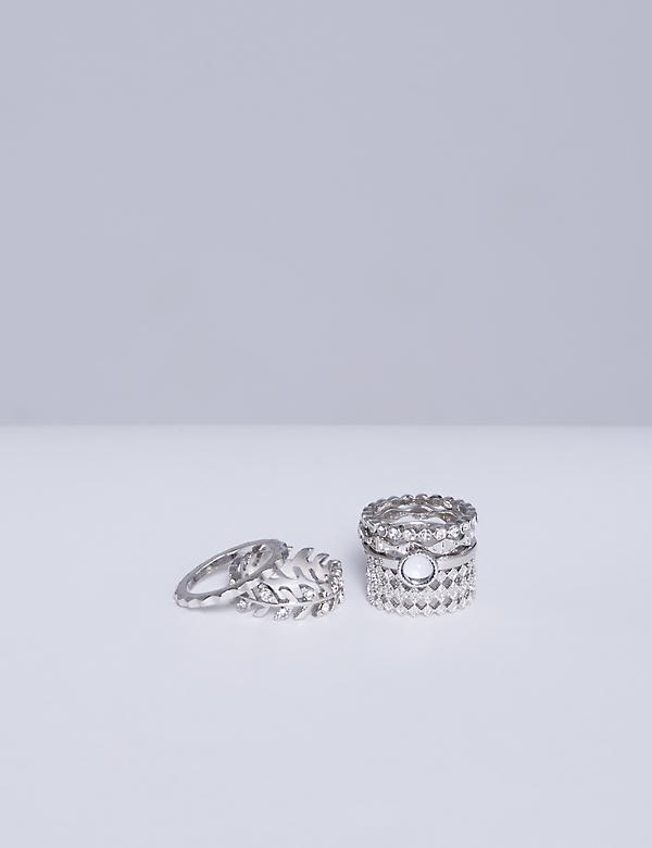6-Stack Filigree & Leaf Rings