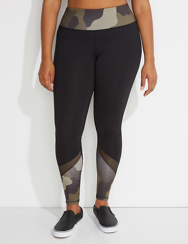 Wicking Camo & Mesh Spliced Active Legging