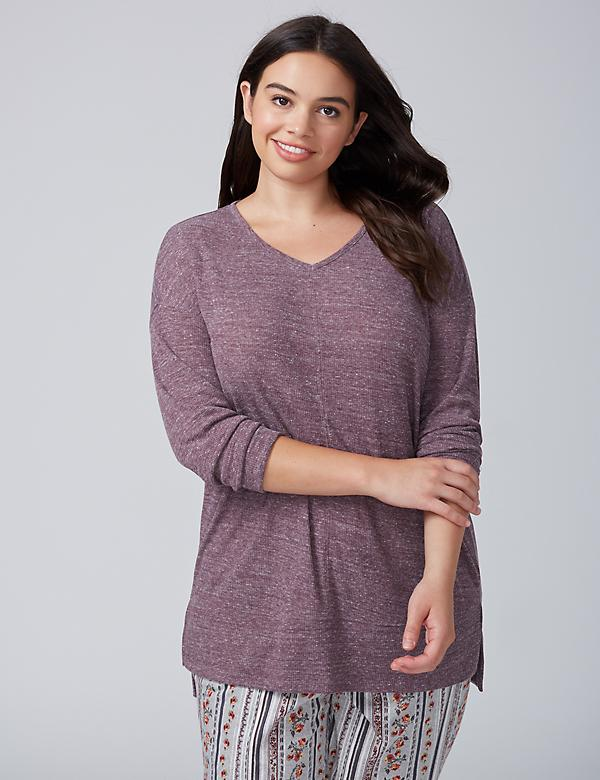 Ribbed Long-Sleeve Sleep Top
