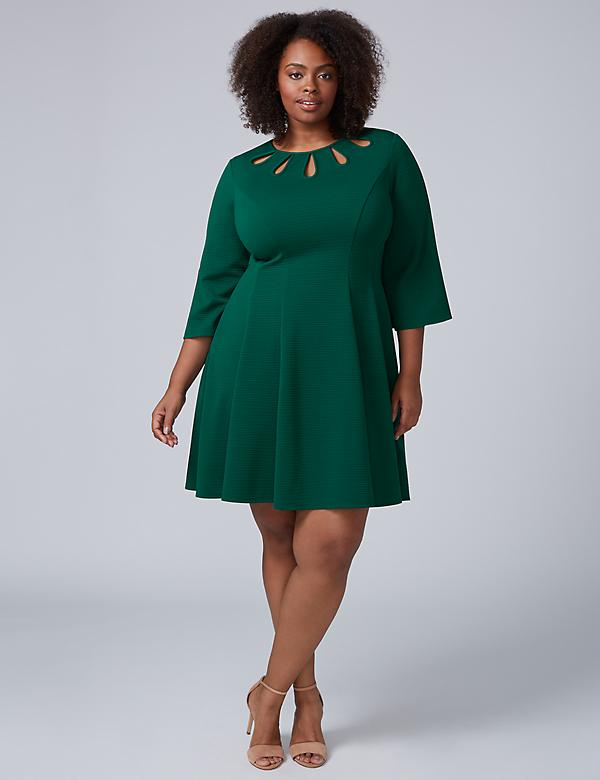 Fit & Flare Dress with Keyhole Neckline