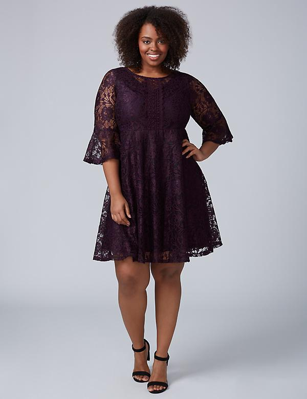 3/4 Sleeve Lace Fit & Flare Dress