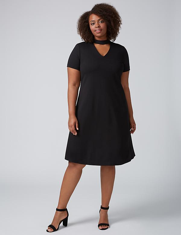 Ponte Swing Dress with Choker Neckline