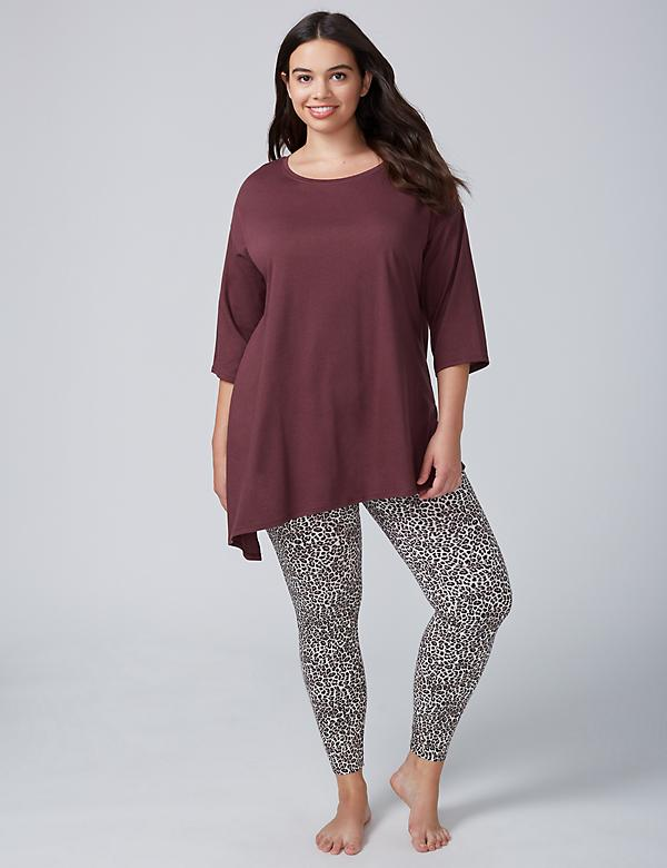 Printed Asymmetrical Tee & Legging PJ Set