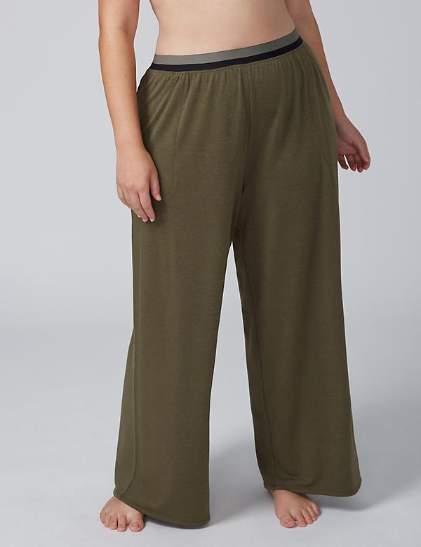 French Terry Sleep Pant with Striped Waistband