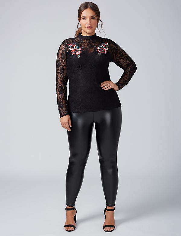 Embroidered Lace Long-Sleeve Top