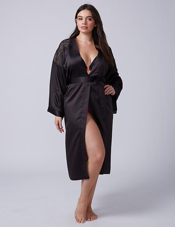 Long Satin Robe with Lace Shoulders