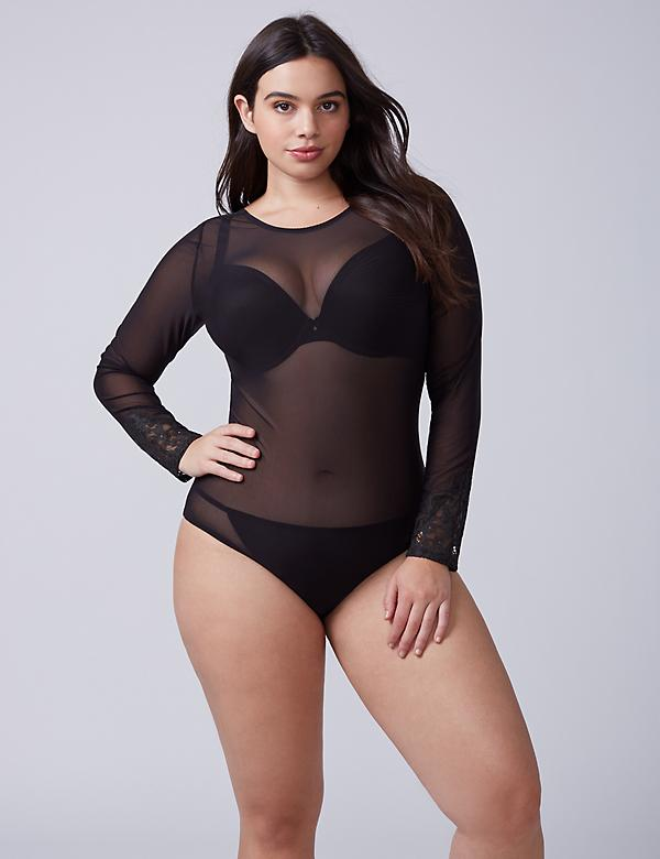 Mesh Long-Sleeve Bodysuit with Lace