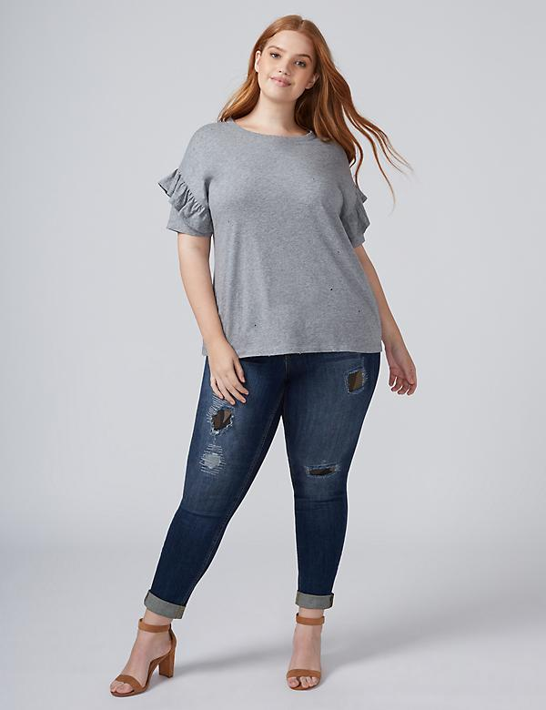 Distressed Flutter-Sleeve Tee