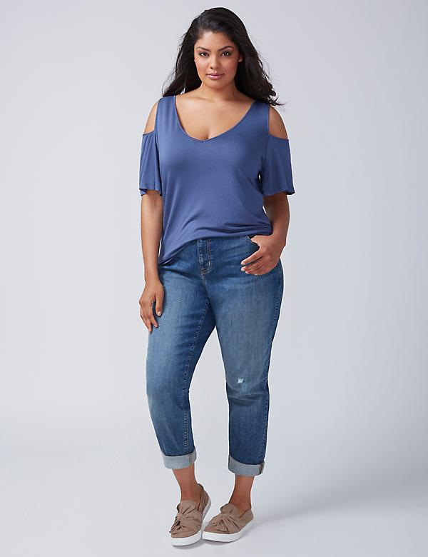 Strappy-Back Cold-Shoulder Top