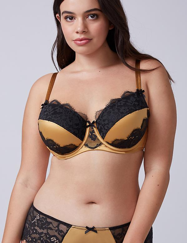 Satin & Lace Lightly Lined Balconette Bra