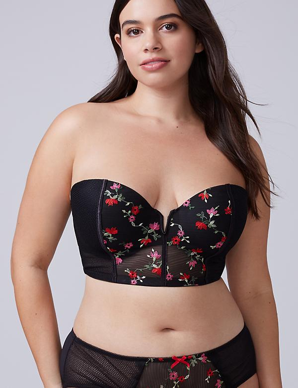 Embroidered Lightly Lined Longline Multi-Way Strapless Bra