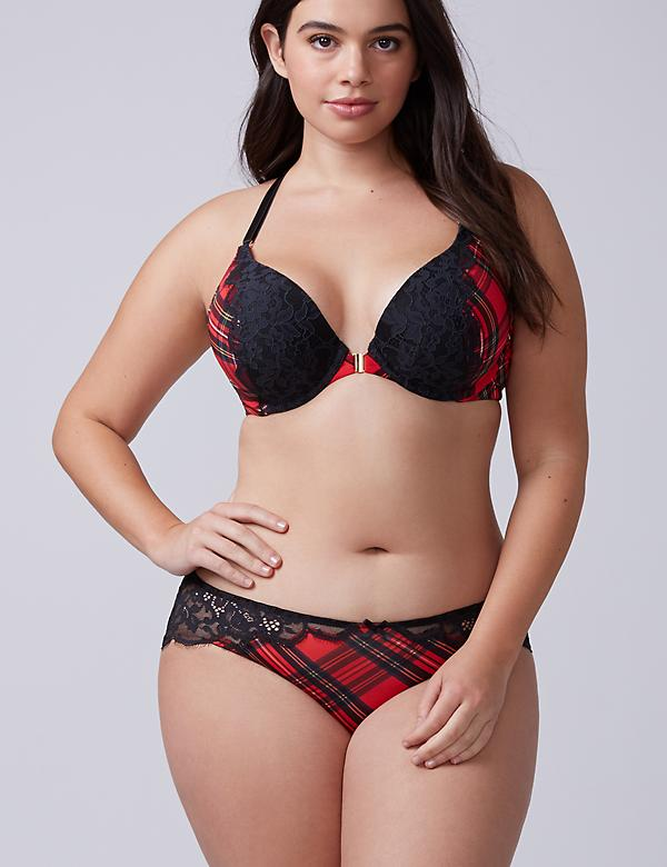 Tartan Plaid Lace Back Hipster Panty