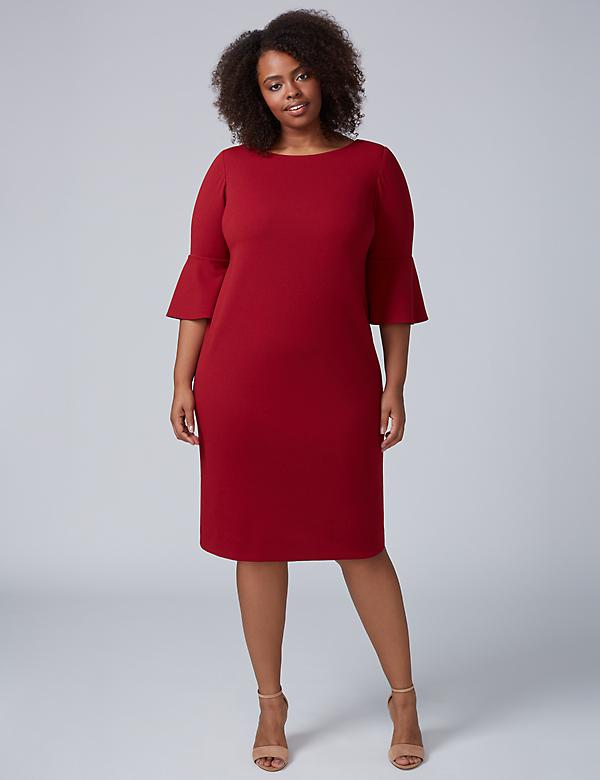 Bell-Sleeve Scuba Sheath Dress