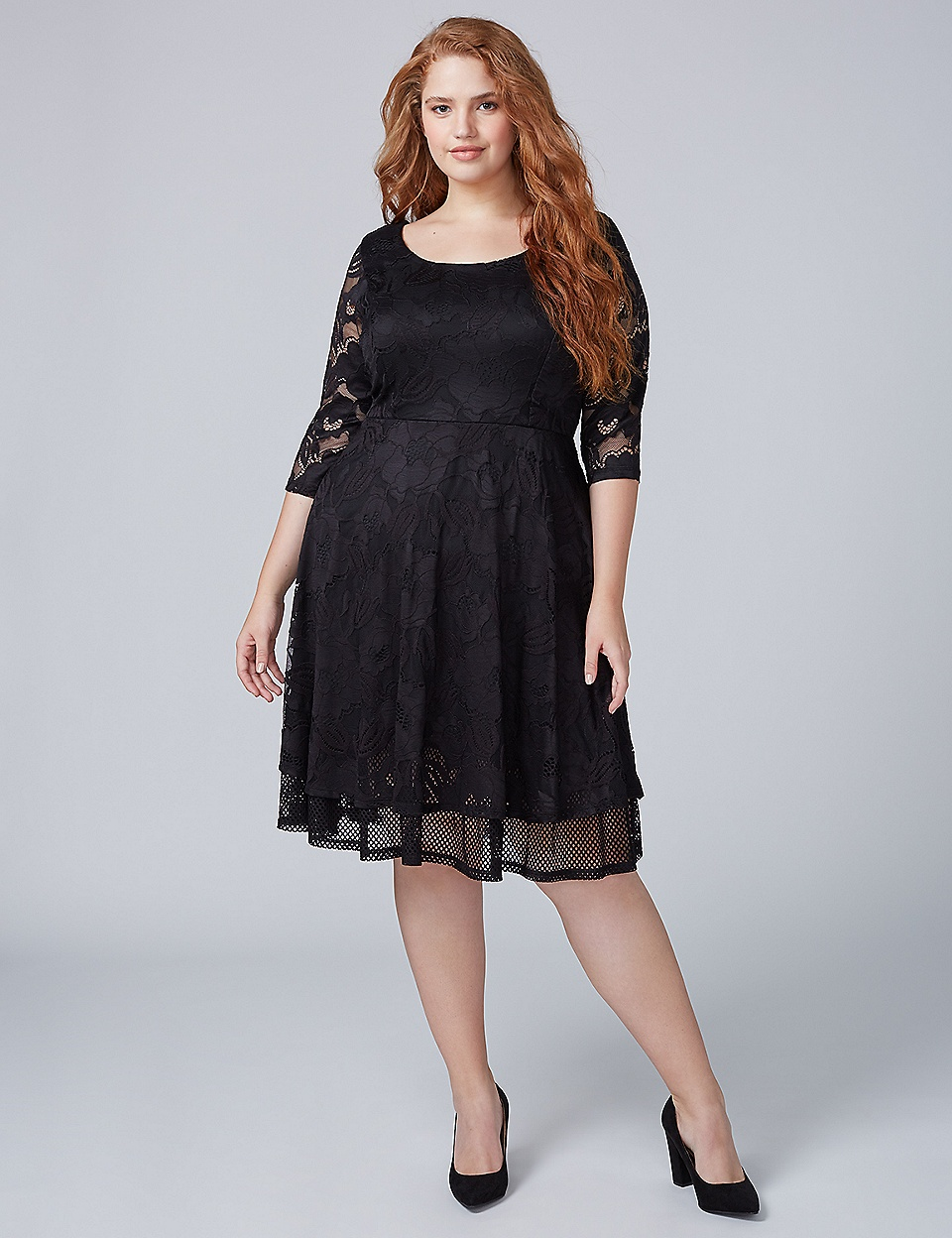 3/4 Sleeve Lace Fit & Flare Dress with Mesh | Lane Bryant