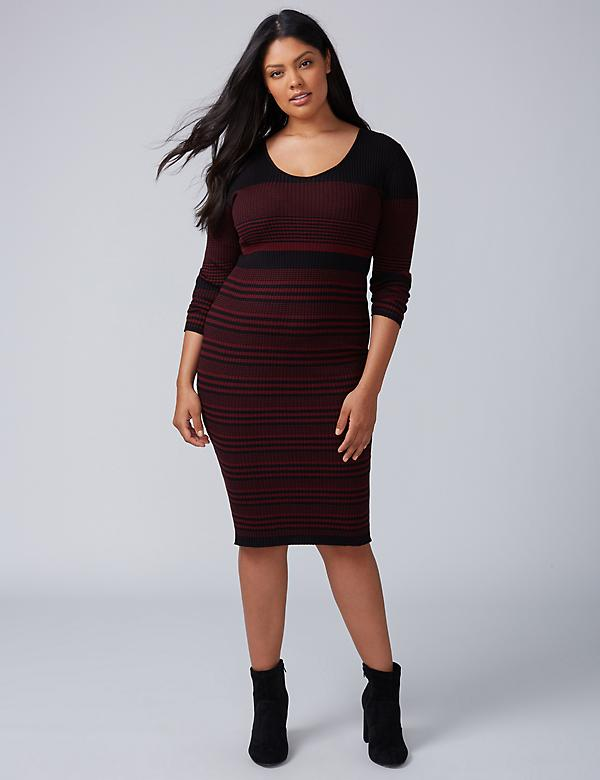 V-Neck Sheath Sweater Dress