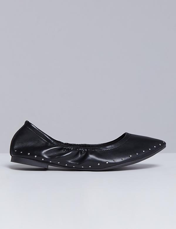Studded Pointed-Toe Flat