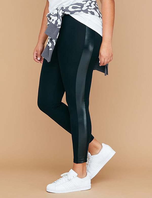 Legging with Faux Leather Tuxedo Stripe