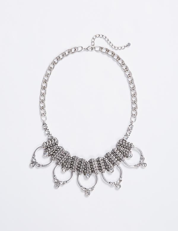 Short Metal Statement Necklace with CZ