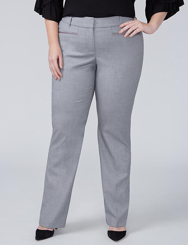 Allie Tailored Stretch Straight Leg Pant - Gray