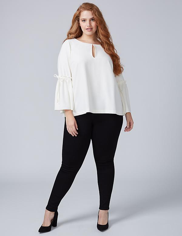 Infinite Stretch Flounce-Sleeve Blouse