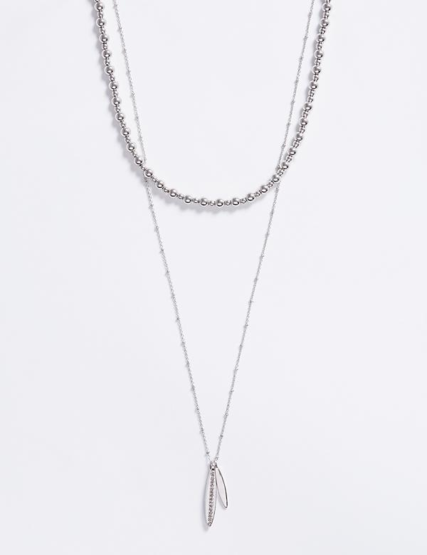2-Layer Necklace with Pave Pendant