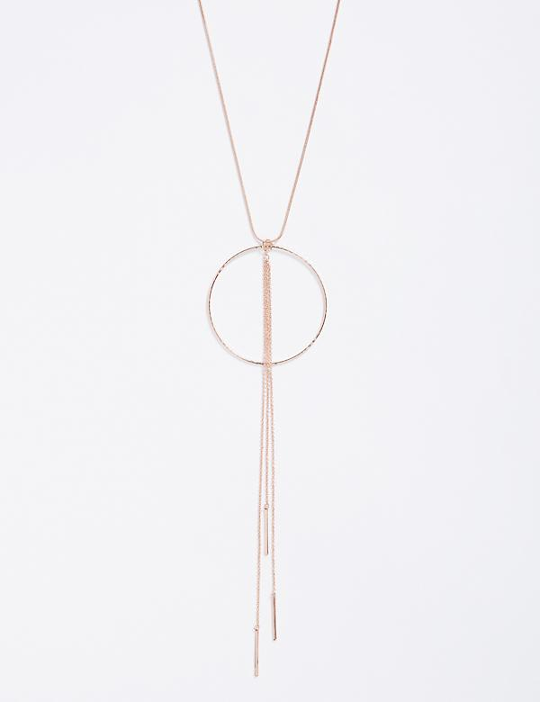 Long Circle Pendant Necklace with drop chains