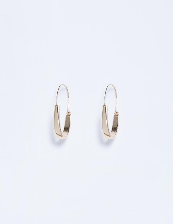 Thick Oval Half Hoop Earrings