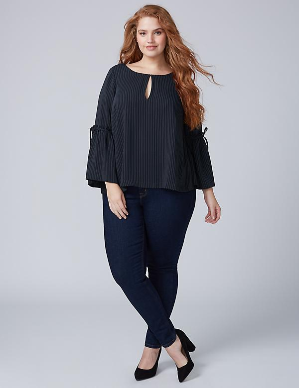 Infinite Stretch Striped Flounce-Sleeve Blouse