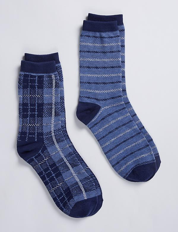 Plaid & Stripes Crew Socks 2-Pack