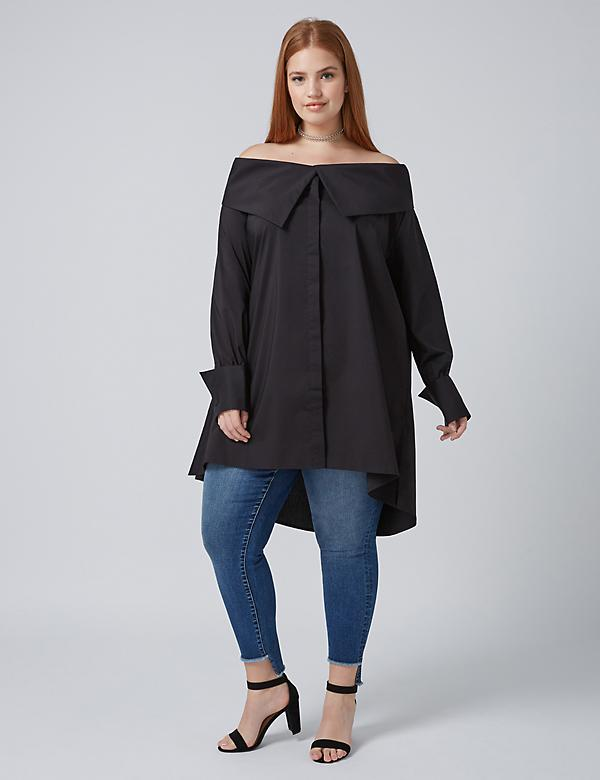 Fast Lane Off-the-Shoulder Tunic Shirt