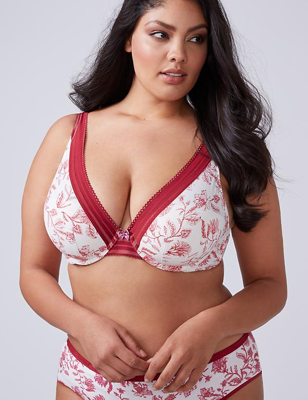 Smooth Lightly Lined Full Coverage Bra with Sheer Stripe Trim