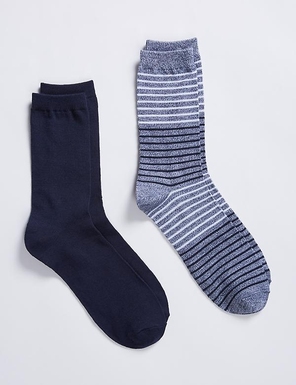 Super Soft Striped & Solid Crew Socks 2-Pack