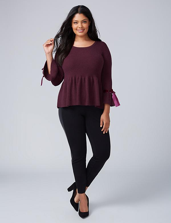 Peplum Sweater with Velvet-Tie Sleeves