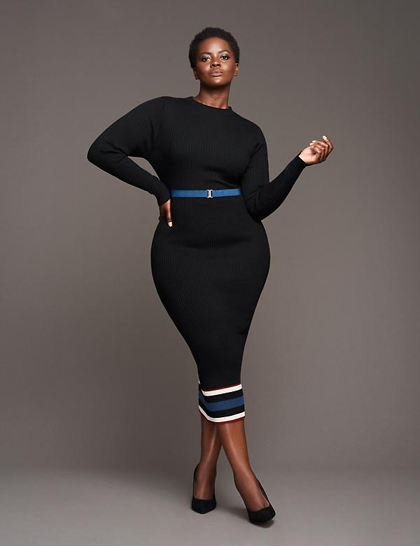 Mock-Neck Midi Dress by GLAMOUR X LANE BRYANT