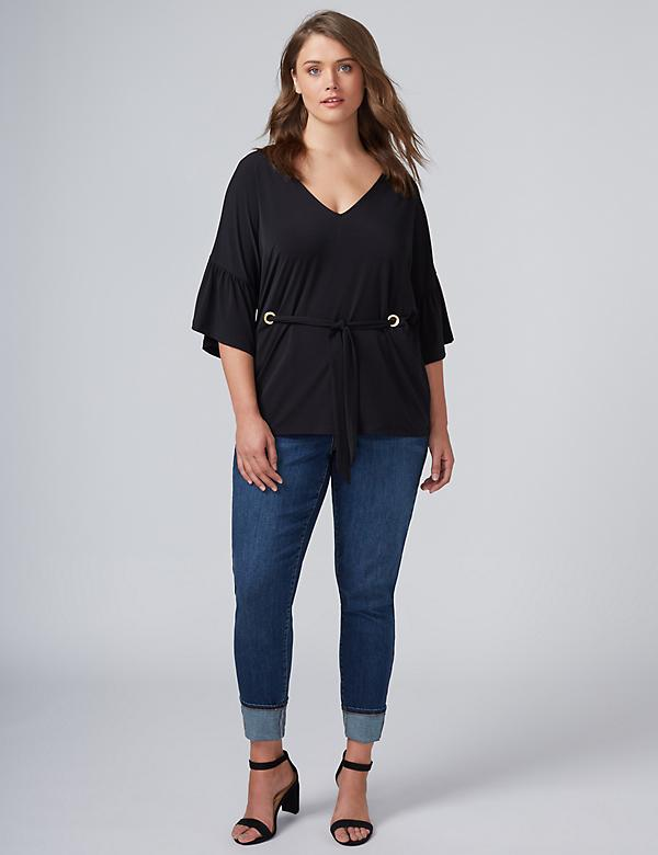 Flutter-Sleeve Top with Tie Waist