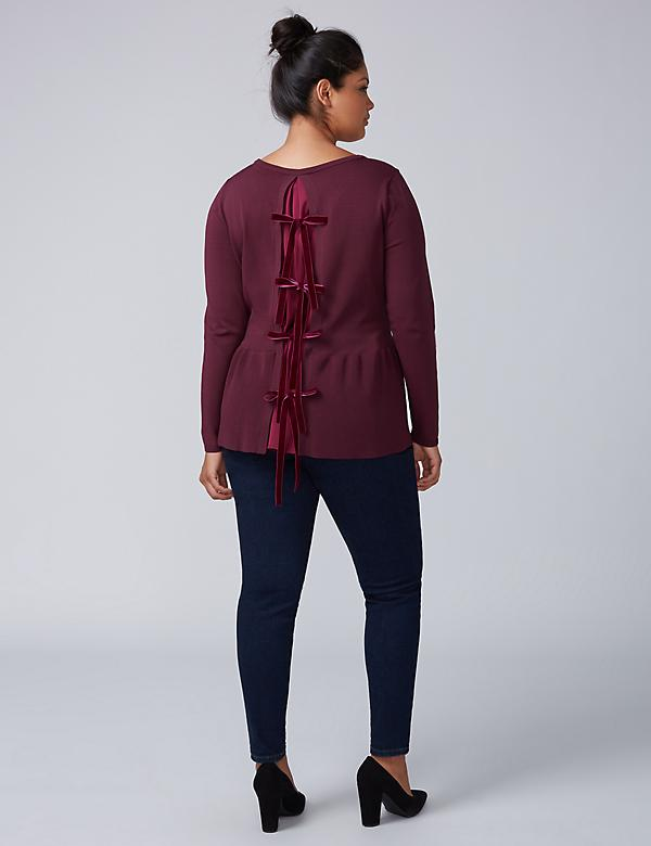 Peplum Sweater with Velvet Back Ties