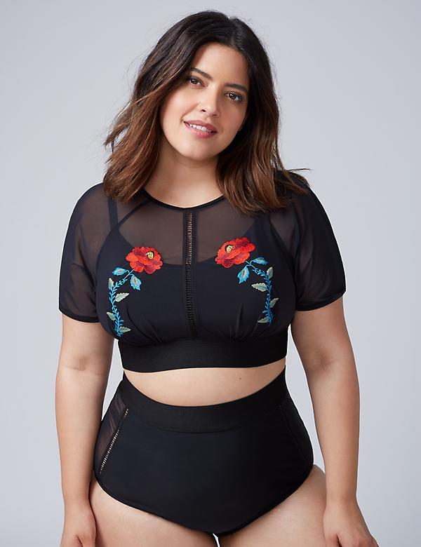 Embroidered Cropped Swim Top with Built-In No-Wire Bra