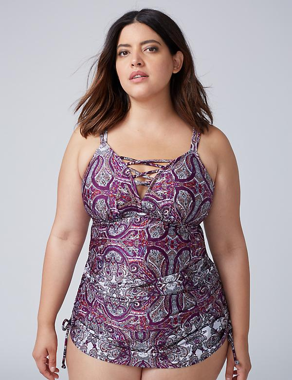 Shimmer Strappy Swim Tankini Top with Built-In No-Wire Bra