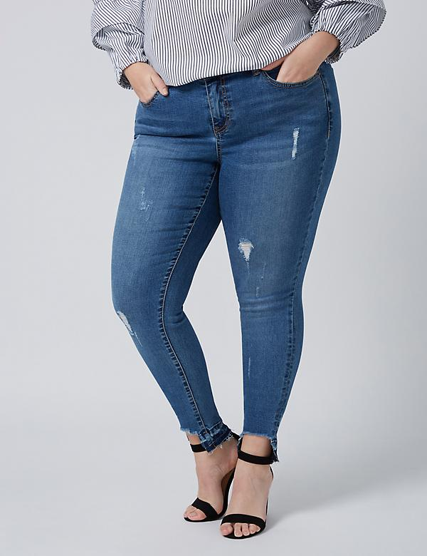 Fast Lane Rip & Repair Skinny Jean with Deconstructed Hem