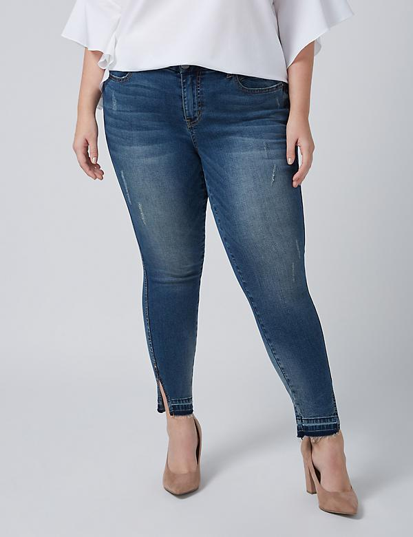 Fast Lane Straight Ankle Jean with Released Split Hem