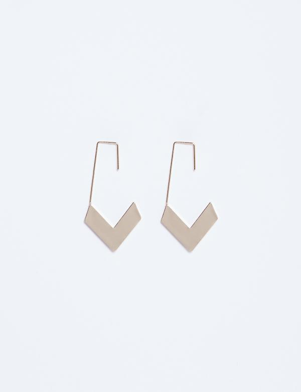 Metal Chevron Drop Earrings