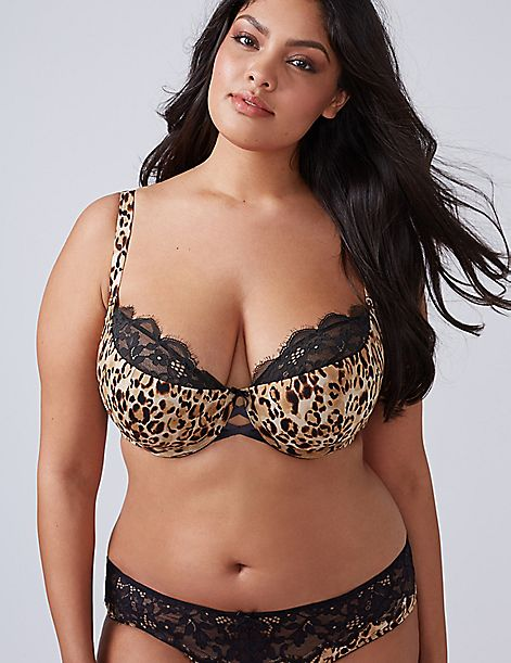 Animal Print Lightly Lined French Balconette Bra with Lace