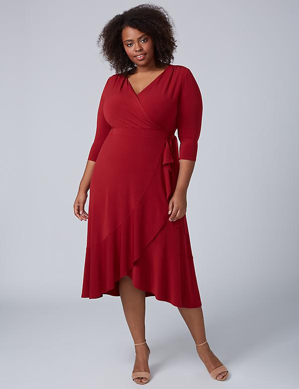 3/4 Sleeve Matte Jersey Faux Wrap Dress